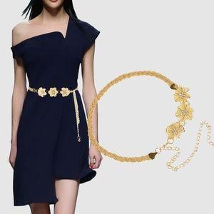 Glod/Sliver Flower Waist Chain Belt